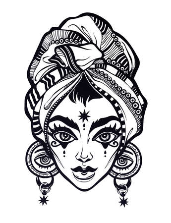 All seeing supernatural fantasy ancient Egypt woman portrait with headwrap. Eye of Providence in her ears. Ideal Halloween, tattoo, magic art for print, posters, t-shirts. Vector illustration.