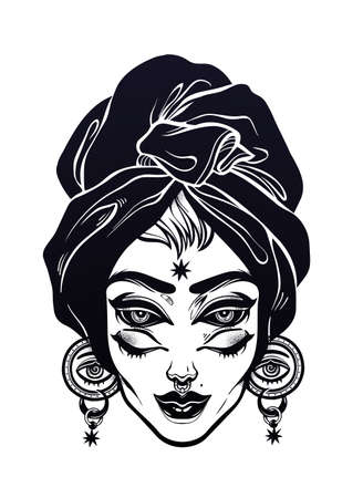 All seeing supernatural woman portrait with headwrap and four eyes. Eye of Providence in her ears. Ideal Halloween, tattoo, weird, psychedelic art for print, posters, t-shirts. Vector illustration.