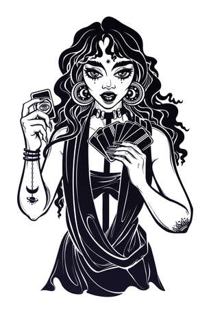 Charming tattooed modern day fortune teller woman holding a magic lucky card in her hands. Psychic future predictions. Tattoo design, retro style,  occultism, print symbol for witchcraft themes.