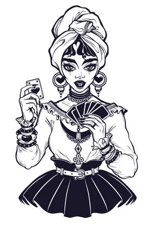 Charmig fortune teller woman holding a magic lucky ace of spades card in her hands. Psychic future predictions. Tattoo design, retro style, occultism, print symbol for witchcraft themes.
