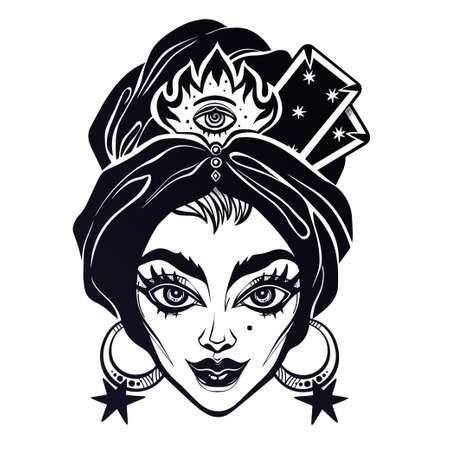 Fortune teller woman portrait with cards in her head piece. Psychic future predictions. Tattoo blackwork design, retro style, occultism, symbol for witchcraft themes. 向量圖像