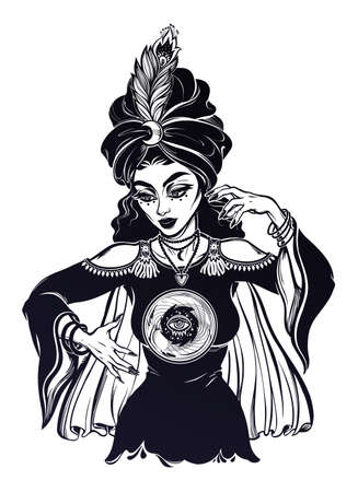 Fortune teller supernatural spiritual woman holding a magic ball in her hands. Psychic future   occultism, symbol for witchcraft themes.