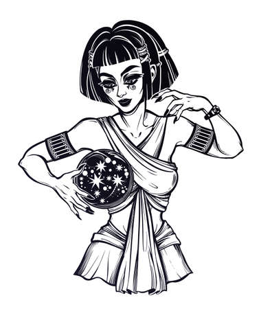 Ancient priestess fortune teller supernatural spiritual woman holding a magic ball in her hands. Psychic future predictions. Tattoo blackwork design, retro style,  occultism.