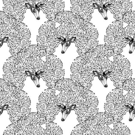 Deer or fawn magic animal with crown of intricate antlers seamless pattern. Animal ornament design, vintage tattoo style. Nature witchcraft art. Isolated vector background.