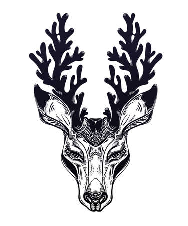 Deer or fawn animal head portrait in line style with crown of antlers. Isolated vector illustration. Wild nature tattoo, concept art.