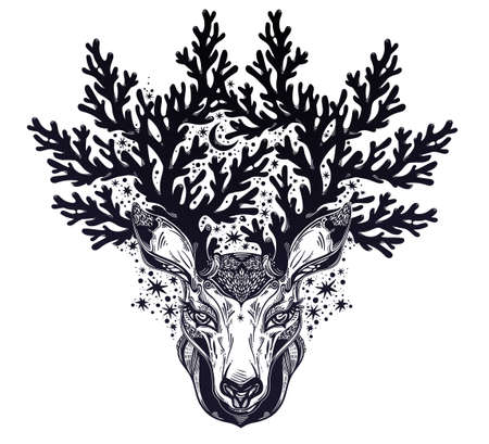 Deer or fawn magic animal head portrait in line style with crown of night stars, moon and intricate antlers. Isolated vector illustration. Wild nature tattoo, concept art.