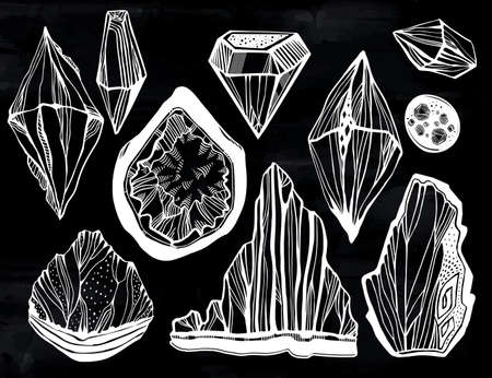 Set of artistic linear wild nature minerals, crystals, shiny gems and rock stones. For science, geology and healing, spirituality yoga. Vector isolated hand drawn illustration.