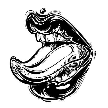 Woman with realistic attractive lips showing licking tongue. Isolated vector illustration.