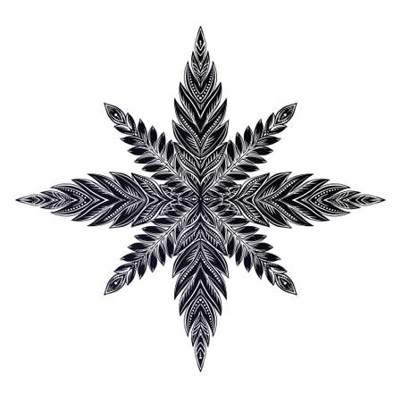 Snowflake star or linear leaf decorative ornament. Isolated vector illustration.
