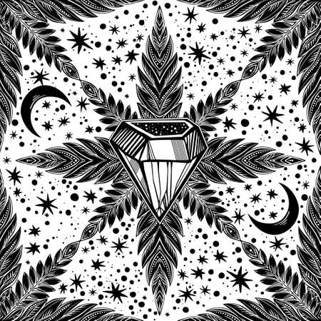 Snowflake linear magic leaf decorative and crystal diamond seamless pattern with moon and stars. Detailed ornament design, vintage linear style. Nature art backdrop. Isolated vector background.