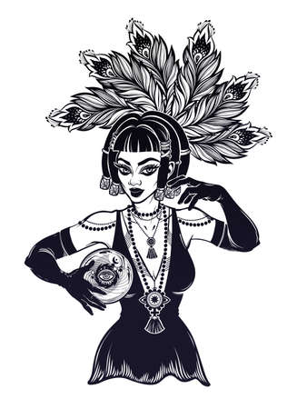 Vintage style 1920s elegant fortune teller woman holding a magic ball in her hands. Psychic future predictions. Tattoo blackwork design, retro style,   occultism, symbol for witchcraft themes.
