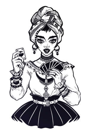 Charming fortune teller woman holding a magic lucky ace of spades card in her hands. Psychic future predictions. Tattoo design, retro style,   occultism, print symbol for witchcraft themes.