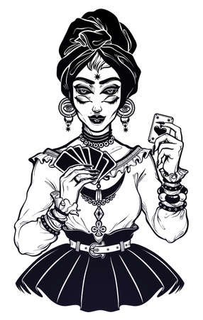 Magic four eye fortune teller woman holding a card in her hands. Psychic seeing future predictions. Tattoo design, retro style,  occultism, print symbol for witchcraft themes.