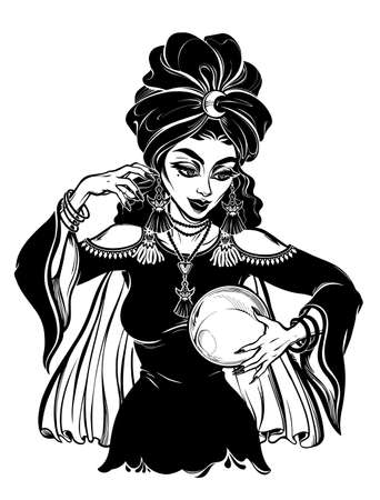 Fortune teller supernatural spiritual woman holding a magic ball in her hands. Psychic future predictions. Tattoo blackwork design, retro style,  occultism, symbol for witchcraft themes.