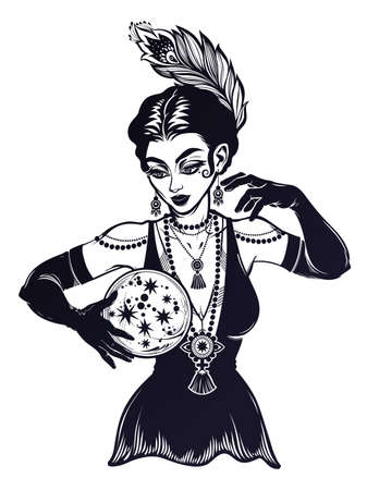 Vintage style 1920s fortune teller spiritual woman holding a magic ball in her hands. Psychic future predictions. Tattoo blackwork design, retro style,   occultism, symbol for witchcraft themes.