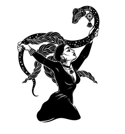 Brave gorgeous spiritual woman holding a magic cobra snake in her hands. Occult priestess, serpent goddess. Tattoo Boho chic blackwork design, retro style,  witchcraft themes. Ilustracja