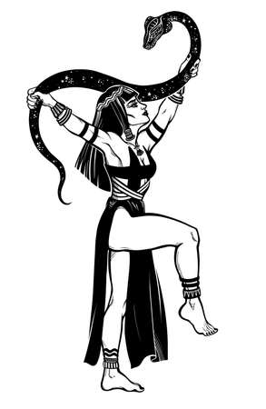 Ancient gorgeous spiritual woman dancing with a magic cobra snake in her hands. Ancient priestess, serpent goddess. Tattoo Boho blackwork design, retro style,  occultism, witchcraft themes. Ilustracja