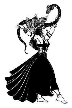 Brave gorgeous spiritual woman dancing with a magic cobra snake in her hands. Ancient priestess, serpent goddess. Tattoo Boho chic blackwork design, retro style,   occultism, witchcraft themes. Ilustracja