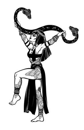 Beautiful inked spiritual woman holding a magic cobra snake in her hands. Ancient priestess, serpent goddess. Tattoo Boho chic blackwork design, retro style,   occultism, witchcraft themes.
