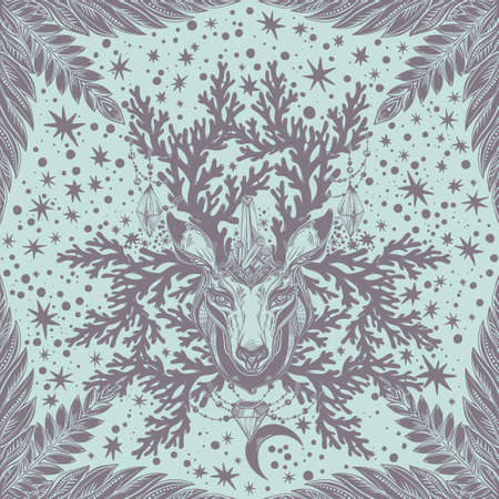 Snowflake leaf and deer magic animal with crown of stars, moon and intricate antlers seamless pattern. Animal ornament design, vintage tattoo style. Nature witchcraft art. Isolated vector background.