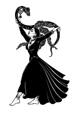 Brave gorgeous spiritual woman holding a magic cobra snake in her hands. Ancient priestess, serpent goddess. Tattoo Boho chic blackwork design, retro style,   occultism, witchcraft themes.