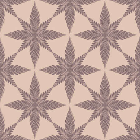 Snowflake star or linear leaf decorative seamless pattern. Detailed ornament design, vintage linear style. Nature art backdrop. Isolated vector background.