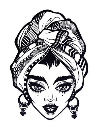 Beautiful attractive woman with African features portrait with ornate headwrap and heart earrings. Summer, tattoo, Latin America art for print, posters, t-shirts and textiles. Vector illustration. Ilustracja