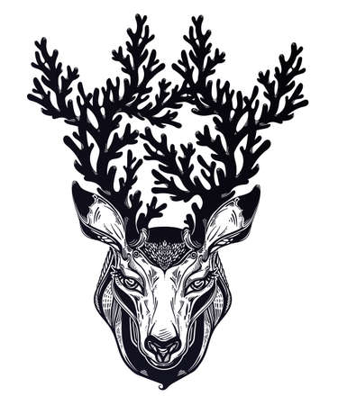 Deer or fawn animal head portrait in line style with crown of intricate antlers. Isolated vector illustration. Wild nature tattoo, concept art.