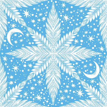 Snowflake linear magic leaf decorative seamless pattern with moon and stars. Detailed ornament design, vintage linear style. Nature art backdrop. Isolated vector background. Ilustracja