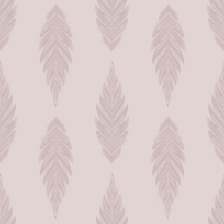 Linear plant leaf decorative seamless pattern. Detailed ornament design, vintage style. Nature art backdrop. Isolated vector background.