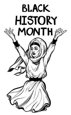 Black History Month. Confident and beautiful Muslim African American woman with a hand written letter message. Education, celebration, culture and solidarity, isolated vector art. Ilustracja