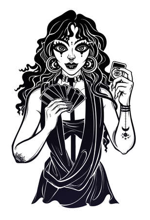 Charming modern day fortune teller woman holding a magic lucky card in her hands. Psychic future predictions. Tattoo design, retro style,  occultism, print symbol for witchcraft themes. Ilustracja