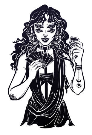 Surreal four eye fortune teller woman holding magic cards in her hands. Psychic seeing future predictions. Tattoo design, retro style,  occultism, print symbol for witchcraft themes.