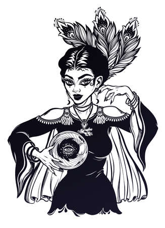 Vintage style elegant fortune teller woman holding a magic ball in her hands. Psychic future predictions. Tattoo blackwork design, retro style,  occultism, symbol for witchcraft themes.