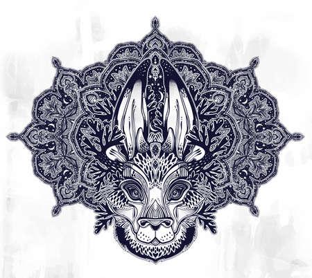 Folk magic jackalope beast with sacred geometry stars and moon ornament. Иллюстрация