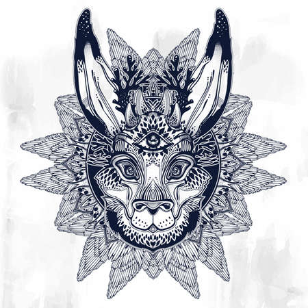 Folk magic jackalope beast with third eye with winged linear rounded frame ornament. Иллюстрация