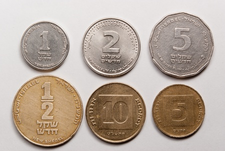 The israeli coins  Light from up photo
