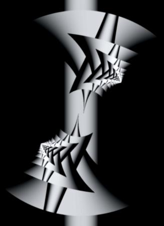 Monochrome fractal design of interlocking stars on a black background