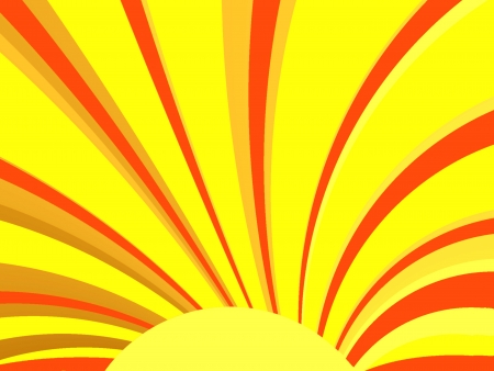 Illustration of sun with rays  Suitable for a Spring or Summer theme or for business and birthday cards, art projects, banners and brochures  Stock Photo