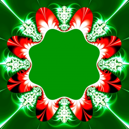 Creative wreath design in red and green  Suitable for a Christmas, New Years or Winter theme, for business and birthday cards, or for other celebration cards  Stock Photo