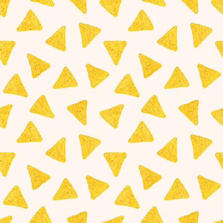 Triangle mexican corn nachos seamless pattern on light background.