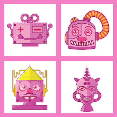 machinery space: Pink Tin Toy Robot Head new design. Illustration