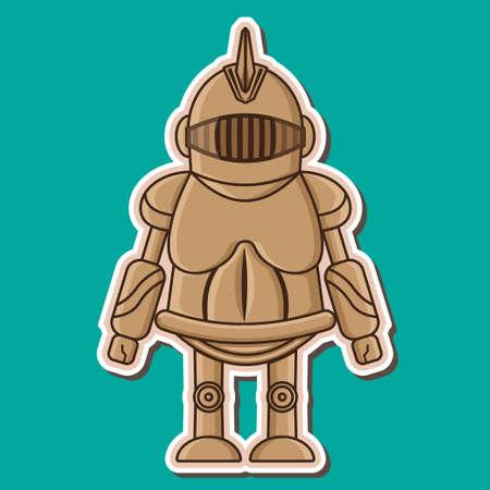swordsman: Cute Knight wooden dummy Vecyor Design Illustration
