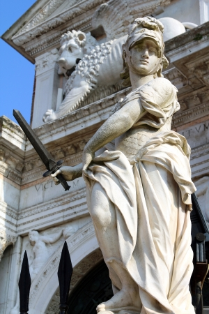 arsenał: statue in front of the gates of the Arsenal, Venice