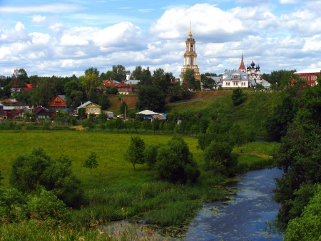 picturesque rural landscape in Suzdal, Russia photo