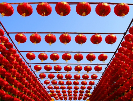 chinese lantern: Chinese red lanterns on a background of blue sky Stock Photo