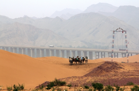 landscape in northwest of China, Shapotou, Ningxia province Stock Photo - 25028131