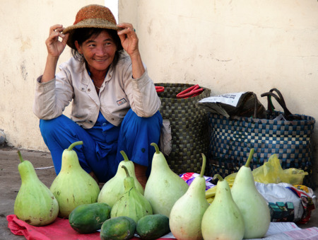 PHAN THIET, VIET NAM - FEB 19, 2009   Vietnamese woman selling vegetables in the market  Every day farmers from remote villages come to the central market of Phanthiet  to sell their crops