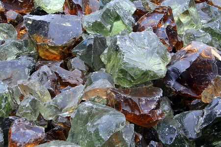 Large pieces of glass prepared for recycling