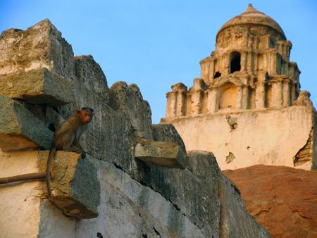 karnataka: Ruins of ancient temple in Hampi, Karnataka, India